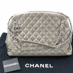 Chanel Mademoiselle Bowler Taupe Patent